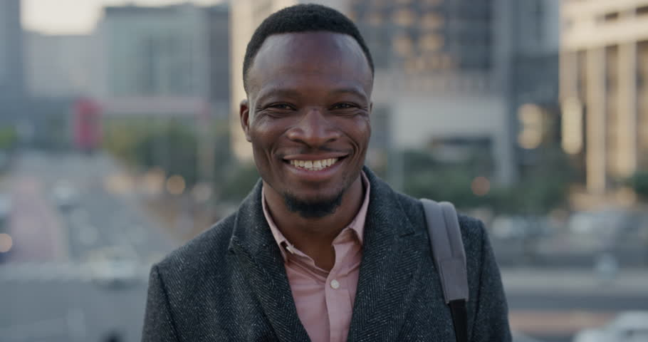 f0eb6129e4f portrait happy african american businessman laughing enjoying successful  lifestyle professional black entrepreneur in city at sunset slow motion  real people ...