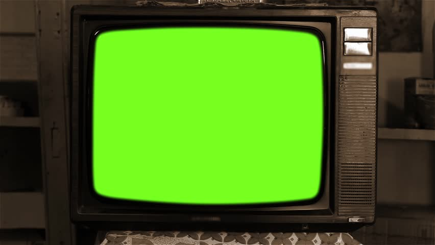 80s Television with Green Screen. Zoom In Slow. Sepia Tone.  | Shutterstock HD Video #1013886812