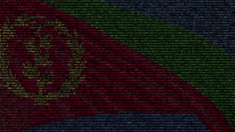 Waving flag of Eritrea made of text symbols on a computer screen. Conceptual loopable animation