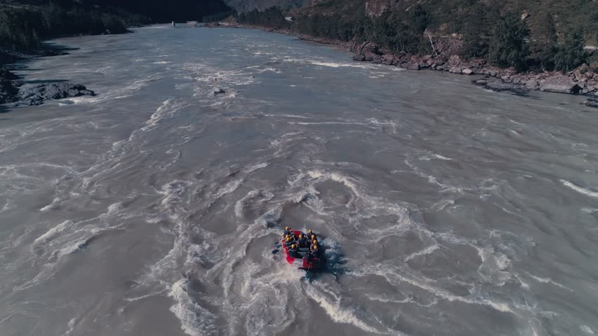 Overhead Aerial Shot of Rafting Boat on Raging River with Rapids 4K | Shutterstock HD Video #1013914622