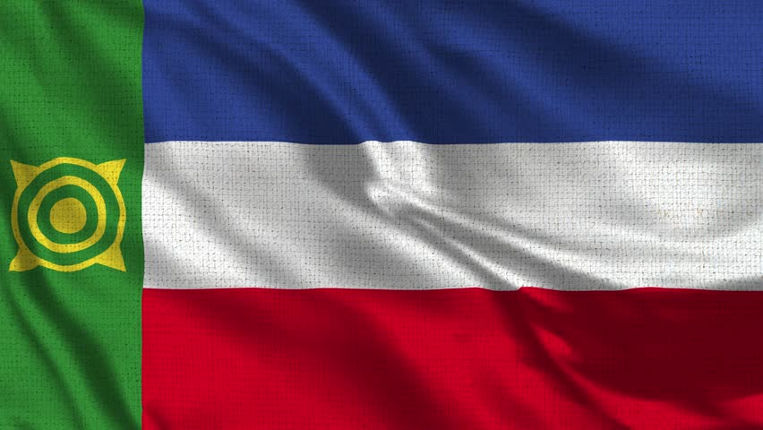 Khakassia Flag Loop - Realistic 4K - 60 fps flag of the Khakassia waving in the wind. Seamless loop with highly detailed fabric texture. Loop ready in 4k resolution