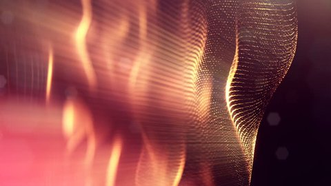 4k seamless 3d animation as sci-fi background with glow particles and depth of field, bokeh. Glowing floating particles form curves, surfaces, grid or virtual space. Golden surfaces v4