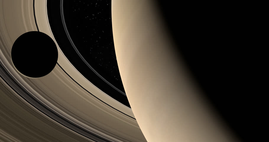 Moon or satellite orbiting around Saturn planet and her rings in the outer space