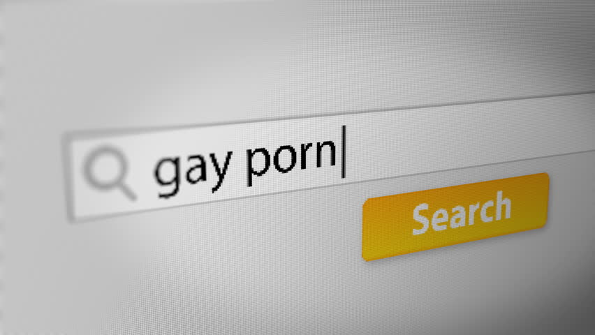 """gay porn"" Typing into Search Engine on Computer Screen. Internet Search Engine Screen Close-Up."