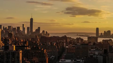 View of New York at Sunset, Aerial sunrise New York City skyline view of lower and Midtown Manhattan.