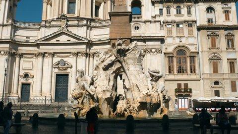 Gian Lorenzo Bernini, Piazza Navona, Fountain of the Four Rivers, the Rio della Plata in Rome
