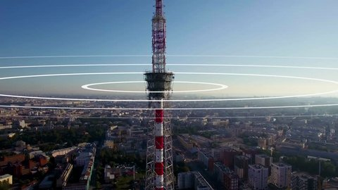Visualization of radio waves coming from a large TV antenna towering above the city. Concept visualization of a phone mast emitting radio signals in concentric circles.