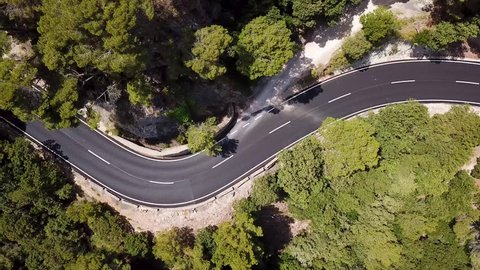 Aerial: Road in mountains of Mallorca, Spain