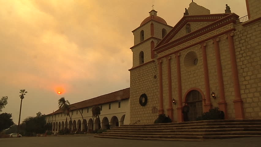2017 - the Santa Barbara Mission in a haze of smoke and ash during the destructive Thomas Fire in California.
