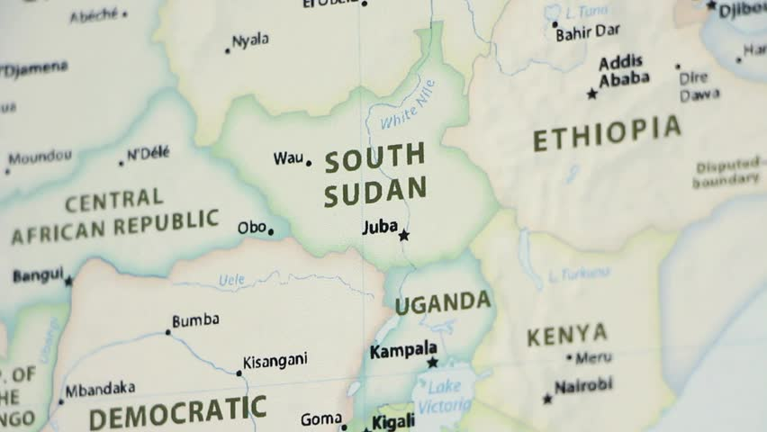 South Sudan on a political map of the world. Video defocuses showing and hiding the map.