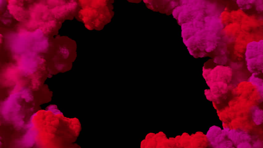 Spreading colored smoke, wiping frame concentrically inwards. Good for wipe transitions & overlay effects. Separated on pure black background, contains alpha channel.   Shutterstock HD Video #1014086312