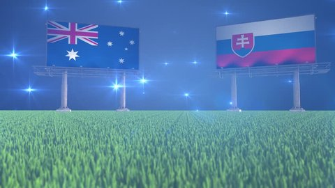 3d animated soccer ball bouncing in front of billboards with the flags of Australia and Slovakia with flickering lights in the background in 4K resolution