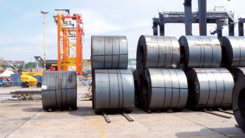 cold rolled steel sheet coils in bull in the port of Gdynia