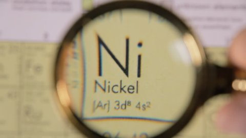 A hand moving a lens magnifier over a defocused board (a periodic table) and revealing the chemical element name, symbol and scientific properties of Ni, nickel.