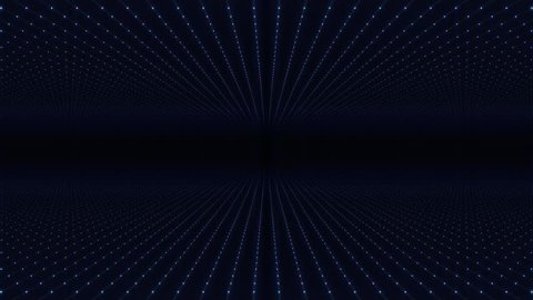 Abstract background made of array of points. Moving through abstract fractal point matrix lattice. Fly into geometric point structure. Abstract futuristic universe on dark background