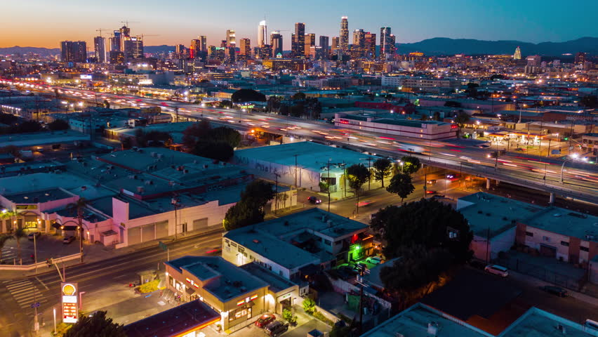 4K Cinematic aerial timelapse in motion view of Downtown Los Angeles at dusk