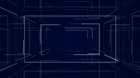Futuristic Hud Tunnel  Camera Zoom Stock Footage Video (100% Royalty