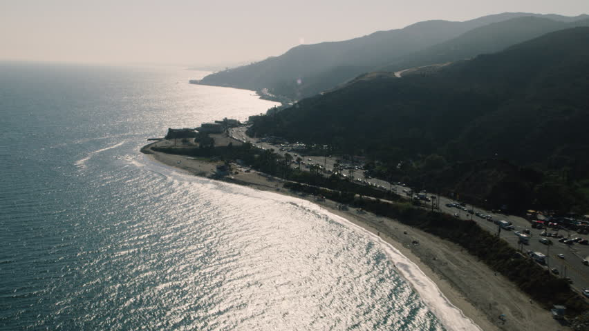 Aerial view of the California shoreline during the day. Shot of Los Angeles. Shot with a RED camera. 4k footage.