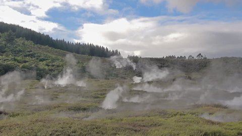 Craters of the moon - active geothermal field in Taupo, New Zealand