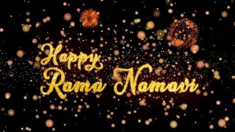 Happy Rama Namavi Abstract particles and fireworks greeting card text with shiny black background for festivals,events,holidays,party,celebration.