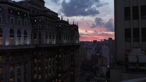 Sao Paulo, Sao Paulo / Brazil - 05/16/2018: Aerial cityscape, sunset building Martinelli