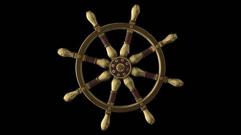 Steering ship wheel animation in steampunk style. Perfect 4 video variations for movies, TV shows, intro, news, commercials, retro, fantasy or steampunk related projects etc.