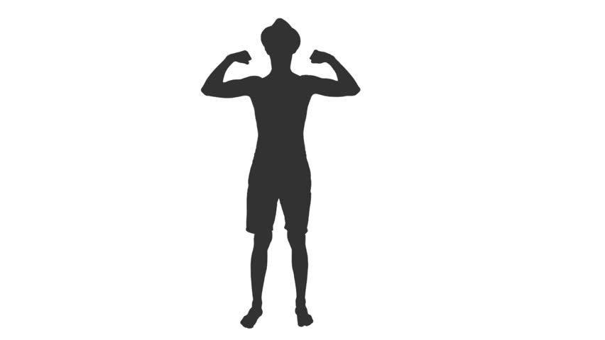 Silhouette of young bodybuilder posing and shows his muscles, Front view, Full HD footage with alpha transparency channel isolated on white background