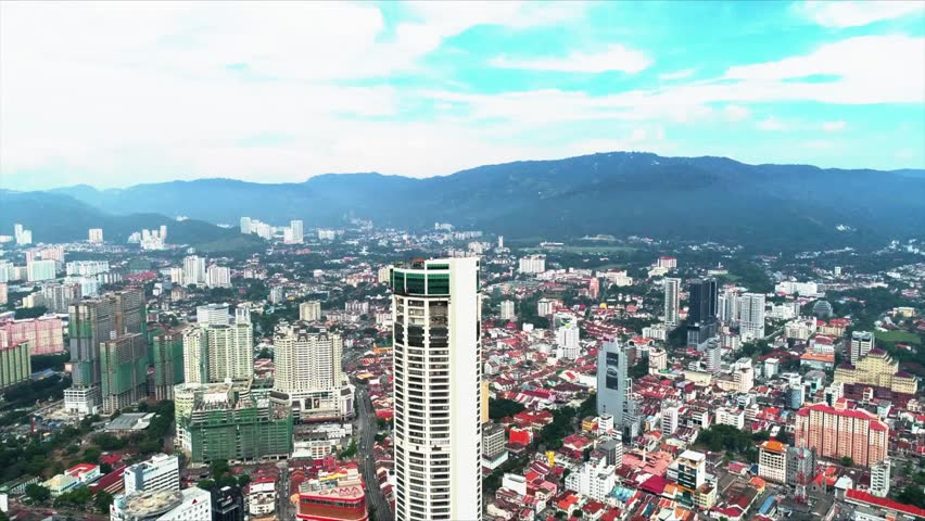 Aerial view of Penang City from Georgetown, Penang, Malaysia.