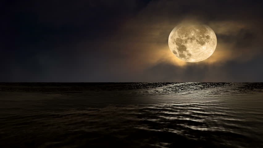 Animated video showing a low, full amber moon glistening over the ocean with beautiful reflections off the water's surface at night. | Shutterstock HD Video #1014417332