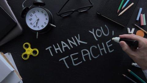 Thank you teacher message on school blackboard