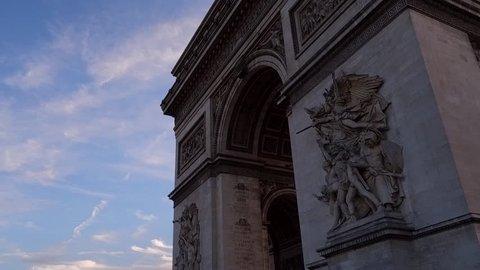 Driving shot of the Arc De Triomphe
