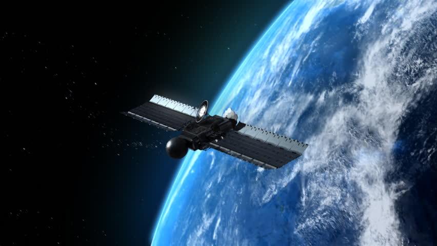 flying modern satellite