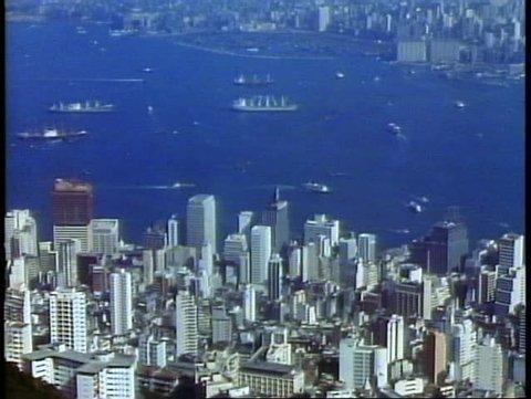 HONG KONG, CHINA, 1982, Hong Kong skyline and harbor from Victoria Peak