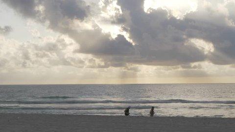 Lifeguard watchtower at dawn, Miami Beach, South Beach, Miami, Florida, United States of America, North America