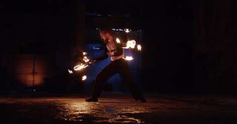 Male Performer Performing Fire Show In Abandoned Building Dangerous Professional Stunt Low Light Fog Slow Motion 8k Red Epic