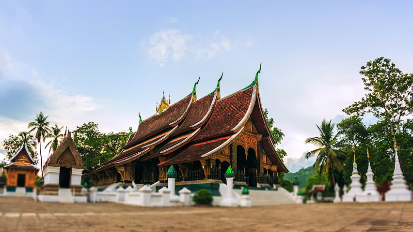 4K. Time lapse Wat Chiang Thong in Luang Prabang, Laos. Xieng Thong temple is one of the most important of Lao monasteries.