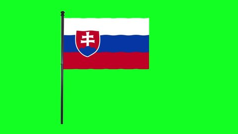 4K Serbia flag is waving in green screen.