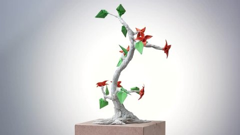 Paper Origami Plant Origami Exposition Stock Footage Video 100 Royalty Free 1014589052 Shutterstock