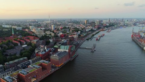 HAMBURG, GERMANY - JUNE 30, 2018: Aerial view of Hamburg city. Rivers, boats, old historic buildings. Amazing cityscape view.