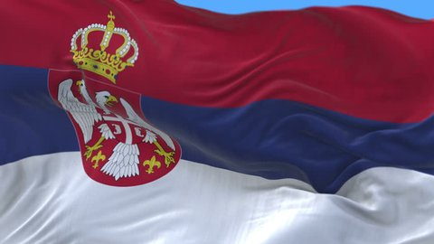4k seamless Close up of Serbia flag waving in wind.A fully digital rendering,The animation loops at 20 seconds.flag 3D animation with alpha channel included. cg_06369_4k
