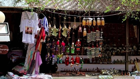 BAGAN, MYANMAR, MAY 17 2018, souvenir shop with traditional Myanmar puppets in area Buddhist temple.