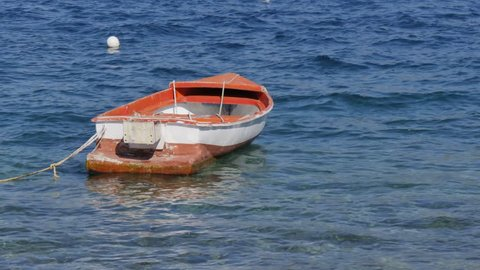 Boat in Luka Korculanska Bay in Korcula Town, Korcula Island, Dalmatia, Croatia, Europe