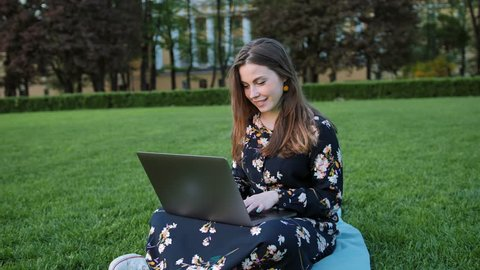 Beautiful woman using laptop in the outdoor park. Green grass summer evening park.