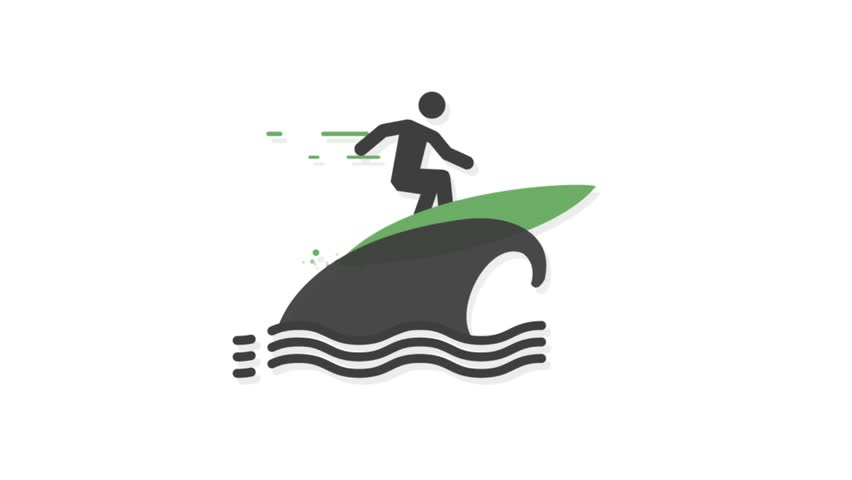Sports icons animation with white  background.Surfing icon animation with white background.