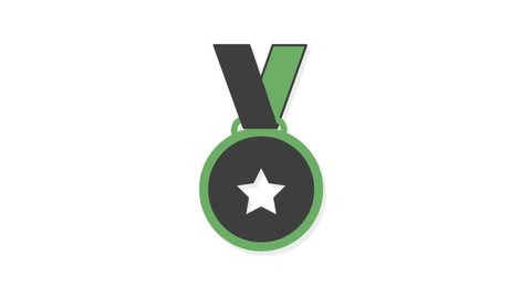 Sports icons animation with white  background.Medal icon animation with white background.