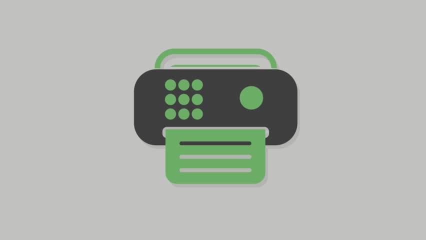 Stationary icons animation with grey  background.Fax Machine icon animation with grey background.