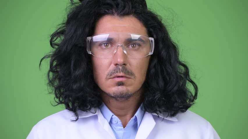 Crazy scientist wearing protective glasses