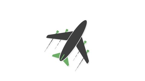 Transportation icons animation with white  background.Plane icon animation with white background.