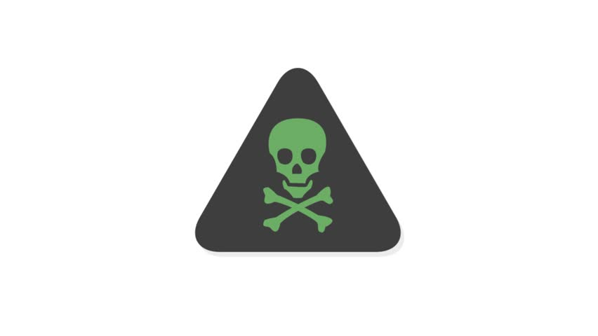 Warning Signs icons animation with white  background.Warning Skeleton icon animation with white background.