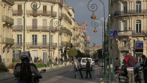 Montpellier, France - April, 2017: Buildings located on rue Foch.